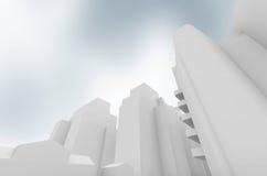 Абстрактный современный городской пейзаж над голубым небом Стоковые Фото