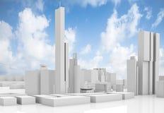 Абстрактный современный городской пейзаж над голубым небом Стоковые Фотографии RF