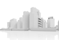 Абстрактный современный городской пейзаж, 3 дома d Стоковое фото RF
