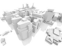 Абстрактный современный городской пейзаж, 3d представляет Стоковые Изображения