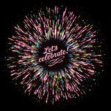 Абстрактный состав в форме взрыва фейерверков против темной предпосылки Праздничный салют ` s Нового Года иллюстрация вектора