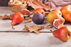Абстрактный состав свежих зрелых плодоовощей и листьев на белизне Стоковое Фото