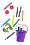 Абстрактный состав с покрашенными карандашами Стоковое фото RF