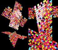 абстрактный состав цвета 3 подрезал элементы Стоковое фото RF