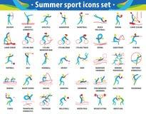 Абстрактный спорт цвета Установленные значки Олимпийских Игр лета иллюстрация штока