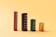 Абстрактный стальной спиральный комплект собрания спиральных пружин Объекты различного размера гибкости твердости красочные Стоковое фото RF