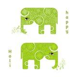 Абстрактный счастливый плакат Holi с 2 зелеными слонами Дизайн для индийского фестиваля цветов Стоковая Фотография RF