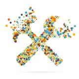 Абстрактный творческий значок вектора концепции инструментов для сети и передвижных применений изолированных на предпосылке Иллюс Стоковые Фото