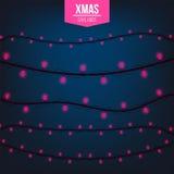 Абстрактный творческий свет гирлянды рождества изолированный на предпосылке шаблон Искусство clipart иллюстрации вектора для Xmas Стоковая Фотография RF