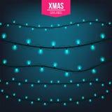 Абстрактный творческий свет гирлянды рождества изолированный на предпосылке шаблон Искусство clipart иллюстрации вектора для Xmas Стоковые Фотографии RF