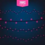 Абстрактный творческий свет гирлянды рождества изолированный на предпосылке шаблон Искусство clipart иллюстрации вектора для Xmas Стоковое фото RF