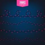 Абстрактный творческий свет гирлянды рождества изолированный на предпосылке шаблон Искусство clipart иллюстрации вектора для Xmas Стоковая Фотография