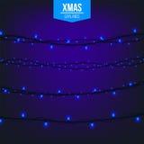 Абстрактный творческий свет гирлянды рождества изолированный на предпосылке шаблон Искусство clipart иллюстрации вектора для Xmas Стоковые Фото