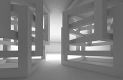 Абстрактный темный интерьер 3d с хаотическими конструкциями куба Стоковая Фотография RF