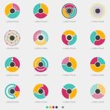 Абстрактный установленный логотип кнопки круга - вектор Стоковые Изображения