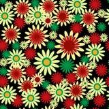 Абстрактный флористический безшовный орнамент с маргаритками на черном backgr бесплатная иллюстрация