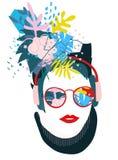 Абстрактный флористический коллаж papercut элементов Стоковое Изображение