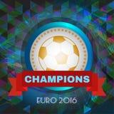 Абстрактный футбол и футбол infographic, чемпионы 2016, играя шарик и красная лента иллюстрация штока