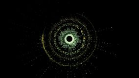 Абстрактный футуристический вращая зеленый круговой механизм с несколькими частей иллюстрация штока