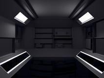 Абстрактный футуристический дизайн интерьера темной комнаты перевод 3d fut иллюстрация вектора