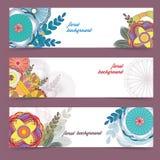 Абстрактный флористический комплект знамени для дизайна, иллюстрации вектора Стоковые Изображения RF
