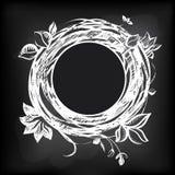 Абстрактный флористический ярлык на доске иллюстрация вектора