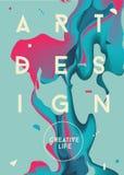 абстрактный цветастый вектор плаката иллюстрации Жидкостные чернила Современные тенденции стиля Стоковые Фото