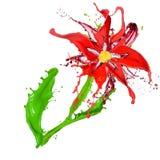 Абстрактный цветок сделанный покрашено брызгает Стоковое Изображение RF