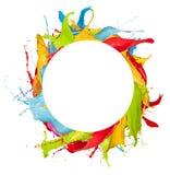 Абстрактный цвет брызгает на белой предпосылке Стоковые Изображения RF