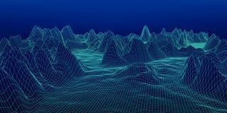 Абстрактный цифровой ландшафт Предпосылка ландшафта Wireframe развилки иллюстрация вектора