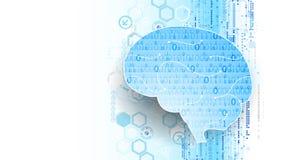 Абстрактный цифровой мозг, концепция технологии вектор иллюстрация штока