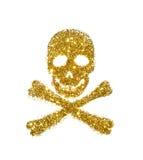 Абстрактный череп и кости золотого яркого блеска на белой предпосылке - интересном элементе для вашего дизайна Стоковые Фотографии RF