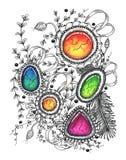 Абстрактный чертеж в стиле zenart Стоковое Изображение RF