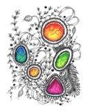 Абстрактный чертеж в стиле zenart Стоковая Фотография