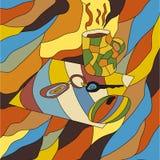 Абстрактный чертеж кофе пользуется ключом лист мышей иллюстрация вектора