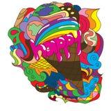 Абстрактный чертеж с мороженым текста Стоковое Фото