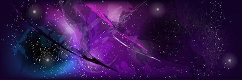 Абстрактный шаблон космического пространства с звездами, кометами и пестроткаными пятнами Стоковые Изображения RF