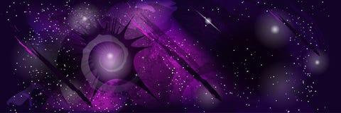 Абстрактный шаблон космического пространства с звездами, кометами и пестроткаными пятнами Стоковые Фото