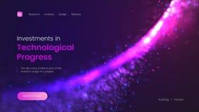 Абстрактный шаблон страницы посадки с сияющей фиолетовой предпосылкой частиц - вклады в технологическом прогрессе, могут быть иллюстрация вектора