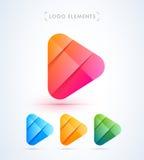 Абстрактный шаблон логотипа кнопки игры Материальный стиль дизайна Стоковые Фотографии RF