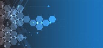 абстрактный шестиугольник предпосылки Дизайн технологии полигональный Digita бесплатная иллюстрация