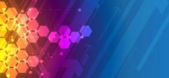 абстрактный шестиугольник предпосылки Дизайн технологии полигональный Digita иллюстрация штока
