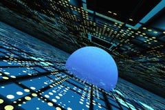 абстрактный электронный горизонт решетки над перспективой Стоковая Фотография RF