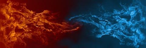 Абстрактный элемент огня и льда против против предпосылки одина другого Жара и холодная концепция иллюстрация штока