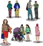 Абстрактный эскиз идя предпосылки белизны людей Стоковые Фото