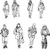 Абстрактный эскиз иллюстрации идя людей в линии на белой предпосылке Стоковое Изображение RF