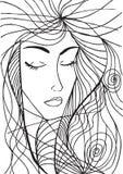 Абстрактный эскиз стороны женщины Стоковое фото RF