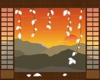 Абстрактный японский ландшафт гор и захода солнца также вектор иллюстрации притяжки corel Стоковая Фотография RF
