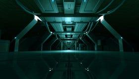 Абстрактный Cyan коридор дизайна интерьера Sci Fi футуристический перевод 3d иллюстрация штока