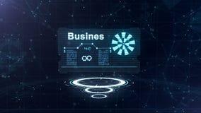 Абстрактный hologram Визитная карточка со знаком дротиков, белого шестерн-колеса и некоторых других диаграмм Абстрактная синь иллюстрация штока